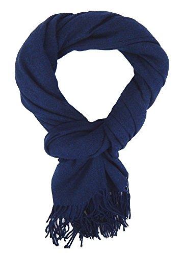Ella Jonte Écharpes foulard d'homme hiver élégant et tendance de la dernière collection by Casual-style bleu uni coton