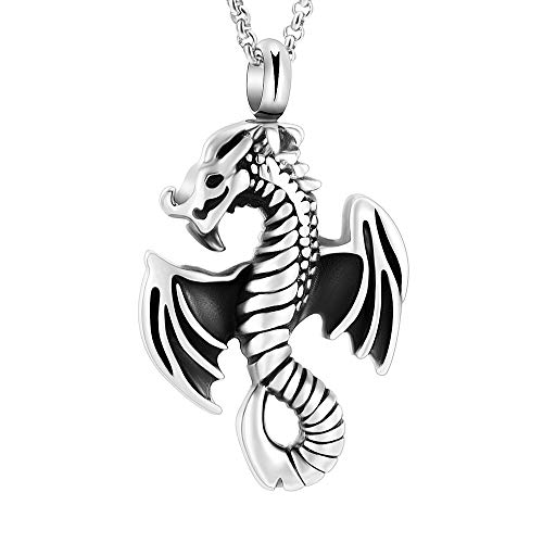 ZXA8723 Trendy Flying Dragon Cremation Pendant Keepsake Memorial Urn Necklace for Ashes Funeral Jewelry&Free Fill Kits