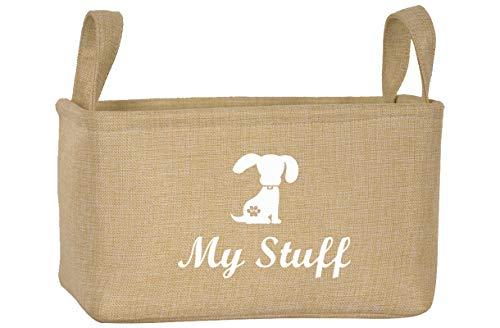 Morezi Cesta de Lona para Juguetes para Mascotas con asa, Adecuada para organizar Suministros para Mascotas como Juguetes para Perros, Juguetes para Gatos, Ropa para Perros-Perro-Beige