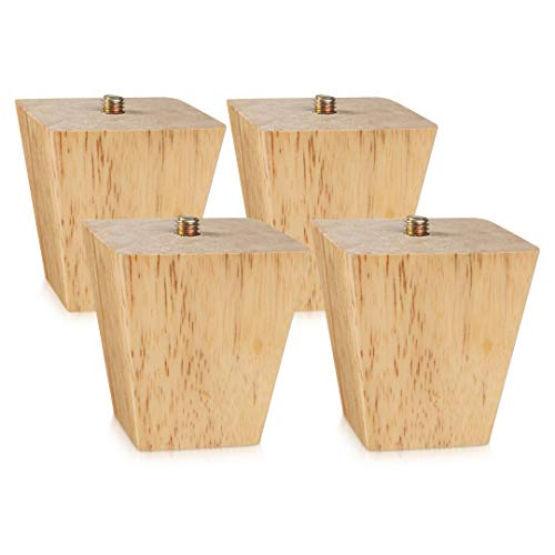 4 PCS Sofa Wooden Feet,Sofa Legs for Wooden Floors,Wood Furniture Leg Wooden Feet for Cabinets Soft Table Set (Height 6cm)