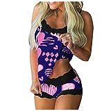 Dasongff Pijama sexy de encaje para mujer, conjunto de dos piezas, camisón sin mangas, camiseta interior, pantalones cortos y lencería de 2 piezas