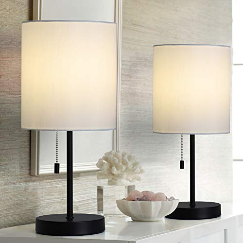 Modern Desk lamp?Black Bedside nightstand Table Lamps with White Fabric lampshade for Bedroom Living Room Office Guest Room, Set of 2