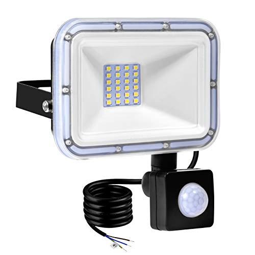 TYCOLIT Faretto LED da Esterno con PIR Sensore di Movimento, 20W 2000 lumen Bianco Diurno 6000K, Proiettore Faretto da Esterno Impermeabile IP67 per Giardino, Corridoio, Illuminazione Esterna