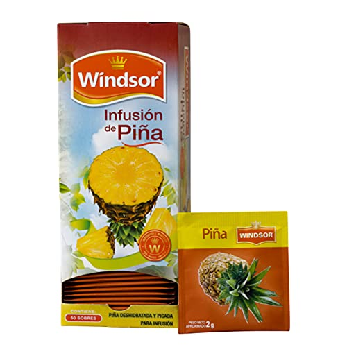 Windsor Pineapple Tea (1 Box with 50 Individual Tea Bags)   Vitamins Rich and Weight Loss Aid   100% Natural, Caffeine Free, Make it Hot or Cold  Box of 3.52 oz
