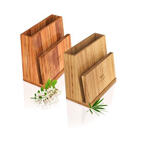 YACIAO Messerblock universal Bambus- 2in1 Messerblock ohne Messer & behälter küche -Magnet, magnetisch - utensilienhalter küche Kitchen Organizer, messerblock unbestückt