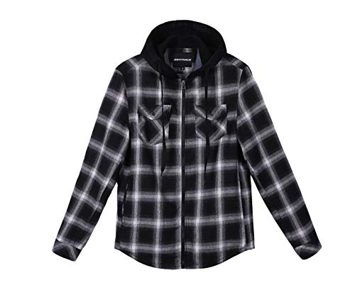 ZENTHACE Mens Thermal Fleece Lined Zip Up Hoodie Plaid Flannel Shirt Jacket Black/White S