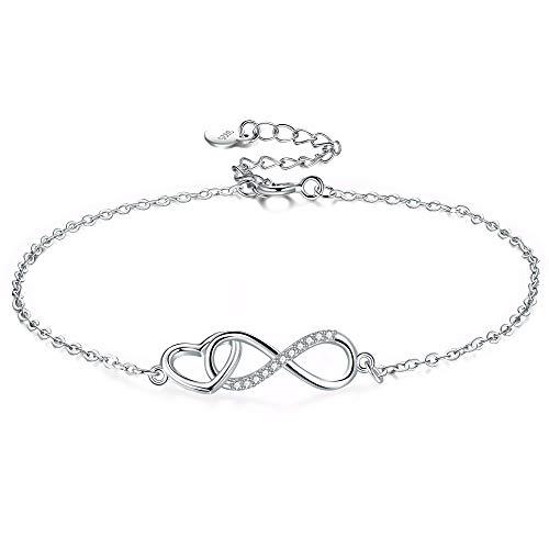 Pulsera de mujer de plata de ley 925, pulsera de infinito, reluciente, circonita cúbica, amor para siempre, pulseras para mujer y niña