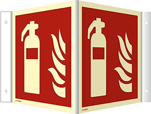 Winkelschild Feuerlöscher HIGHLIGHT, Leuchtdichte: 52 mcd/m² gemäß ASR A1.3/ DIN 7010 PVC 20 x 20 cm (Brandschutz) wetterfest