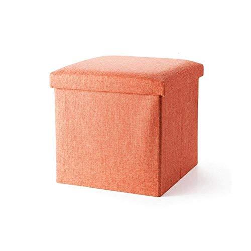 THBEIBEI opslag banken schoen opslag bank voet kruk vouwen opslag met deksel Ottomaanse doos gestoffeerde voetsteun voor hal   woonkamer oranje Max. 150 kg.