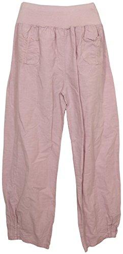 Vexcon Damen Hose/Leinenhose aus luftigem angenehm zu tragendem Leinen, bequemer Schnitt, Gummibund, 2 aufgesetzte Taschen vorne, Größen S – 5XL, Made in Italy