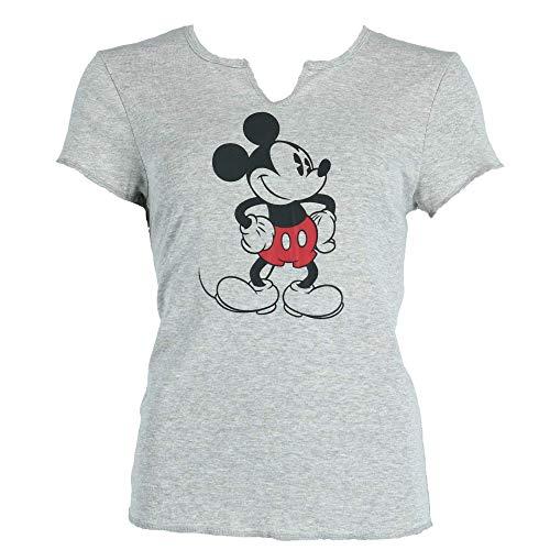 Disney Mickey Mouse Old School Pajama Top Tee T Shirt Junior Girls Gray Black (Xlarge)
