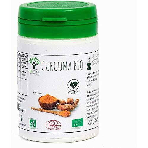 Curcuma Bio - Bioptimal - Complément Alimentaire - Curcuma Bio Gélule - Articulation - Digestion - Made in France - Certifié Ecocert - 60 gélules