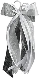 10 x Antennenschleife Autoschleife Autoschmuck Hochzeit SCH0105 weiß silber grau
