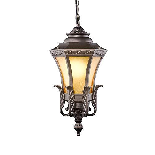 YUNTAO Lámparas decorativas Suspensión impermeable pendiente de la vendimia de la lámpara IP44 Diseño Exterior Interior fundición de aluminio y pantalla de cristal del colgante de luz E27 Pabellón Pas