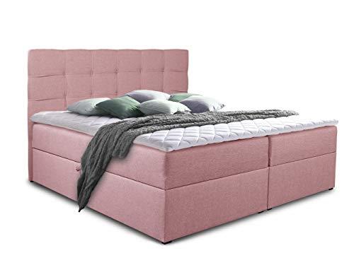 Boxspringbett Best mit 2 Bettkästen, Doppelbett mit Bonell-Matratze und Topper, Polsterbett, Bett, Bettgestell, Stilvoll, Schlafzimmer (Pink (Inari 52), 140 x 200 cm)