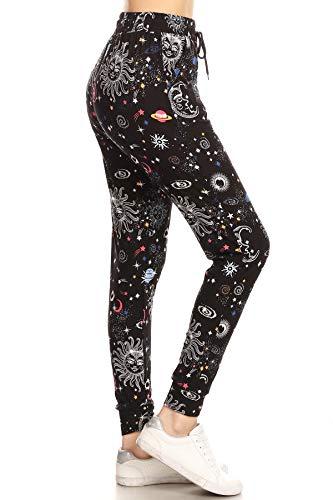 Leggings Depot JGA-S763-L Celestial Dream Print Jogger Pants, Large