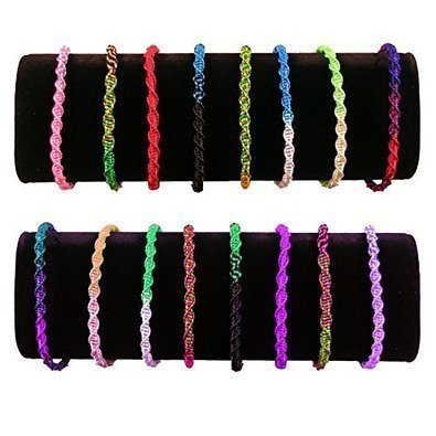 Assorted Colors Pack of 10 Twisted Thick Bracelet Pattern Adjustable One Size From Peru