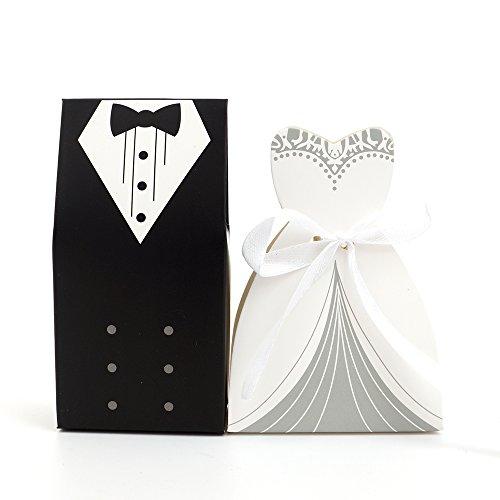 DIYI 100 Hochzeit Brautkleid Anzug Braut & Bräutigam KARTONAGE Gastgeschenk Box Schachtel Bonboniere Geschenkbox Geburtstag Bonbon Box (Zweireiher Braut & Bräutigam)