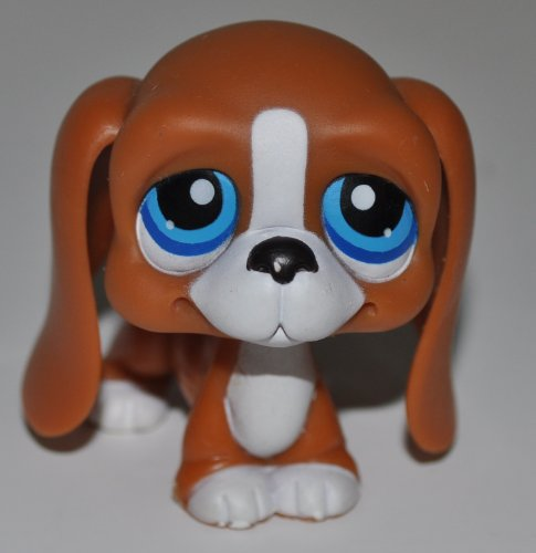 Bassett Hound #222 (Brown, Blue Eyes, White Muzzle) - Littlest Pet Shop (Retired) Collector Toy - LPS Collectible Replacement Figure - Loose (OOP Out of Package & Print)