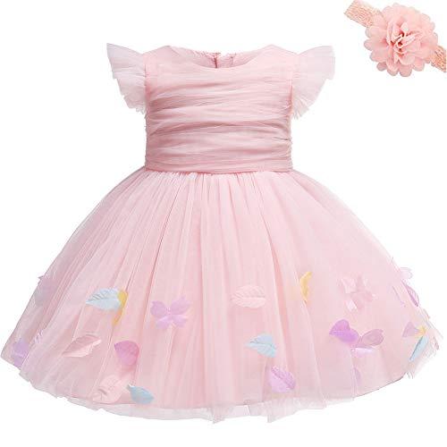 AHAHA Baby Mädchen Blume Kleider Rosa Prinzessin Brautkleider Party Kleid für Babys