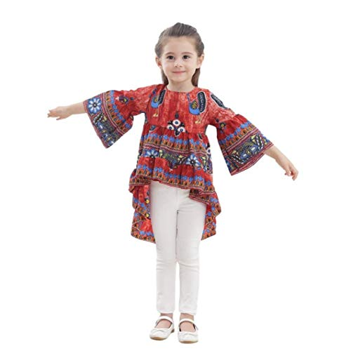Toddler Baby Outdoor Clothes - Infant Kid Girls Peacock Print Half Lantern Slevee Formal Dress Clothes Red 5T