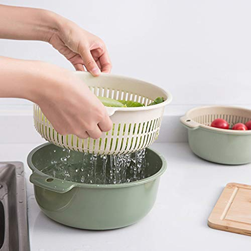 Lukame Gemüse Abtropfkorb Ablassen, Wasch Fruchtkorb, Doppelschichttrennungs Küche Kunststoff Obst Und Gemüse Ablagekorb 20×8.5cm (Grün)