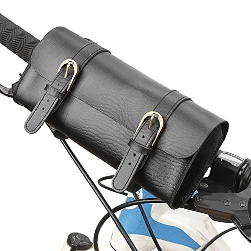 VGEBY Bolsa de Bicicleta Bolsa de Tubo Superior de Bicicleta Bolsa de Marco Frontal de Bicicleta Cabeza de Scooter Sillín de Manillar Plegable Bolsa de Almacenamiento de Cuero PU