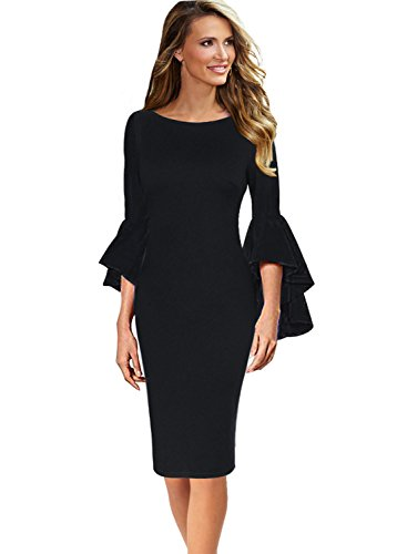 Vfshow Ruffle Bell Sleeve Cocktail Party Bodycon Sheath Dress