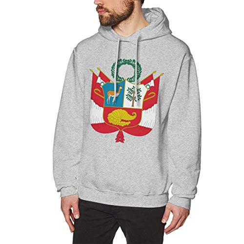 Men's Coat of Arms of Peru National Emblem Hoodies Sweatshirt Pullover Sweater, Cotton Hooded Tunic Shirt Set S