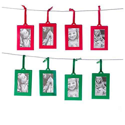 Klikel Christmas Photo Ornament Frames - Red & Green Mini Picture Frames - Set of 8 - Small Holiday Frames for Gifts or Hanging on Christmas Trees