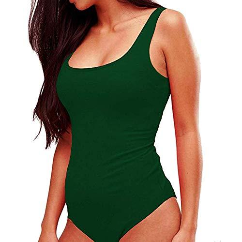 beautijiam Damen Body, sexy, U-Ausschnitt, Einteiler M dunkelgrün
