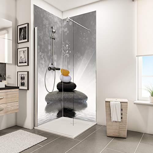 Schulte Duschrückwand Zen-Steine Grau über Eck, 2 x 90x210 cm, Wandverkleidung aus Alu-Dibond als fugenloser Fliesenersatz