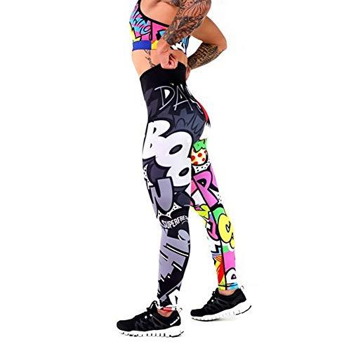 Polainas de yoga para mujer de cintura alta Fitness Deportes Jogging Gimnasio Pantalones elásticos, A, M