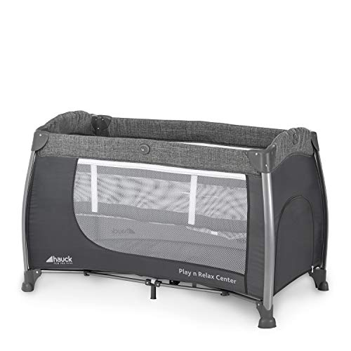 Hauck Play'n Relax Center Reisebett, 7-teiliges, ab Geburt bis 15 kg, faltbar und kippsicher, mit Neugeborenen Einhang, Wickelauflage, seitlicher Ausstieg, Netztasche, Räder, Transporttasche, grau - 12