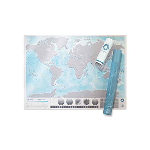 Large World Ocean Scratch Map � Personalized World Ocean Travel Map � Scratch Off Map � Transparent & Colorful Scratch Poster � Great for Classrooms & Travelers � Blue & Grey