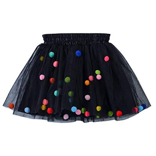 Happy Cherry - Falda Tutú Corta para Niñas 0-10 años Tutu Skirt con Pom Pom Coloridos para Halloween Navidad Ballet
