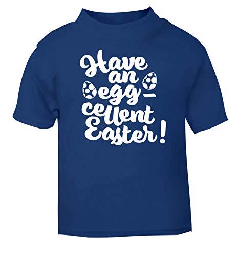 Flox Creative T-Shirt pour bébé Inscription Have an Eggcellent Easter - Bleu - 6 Mois