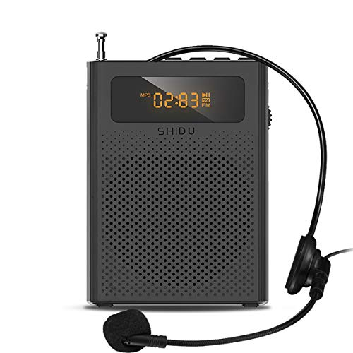 Portable Voice Amplifier with Mini Headset Microphone Updated Voice Speaker for Teachers Elderly Tour Guide Supports MP3 Format Audio Black