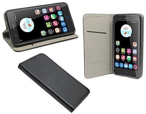 ENERGMiX Buchtasche Hülle kompatibel mit ZTE Blade A510 Hülle Tasche Wallet BookStyle mit Standfunktion in Schwarz