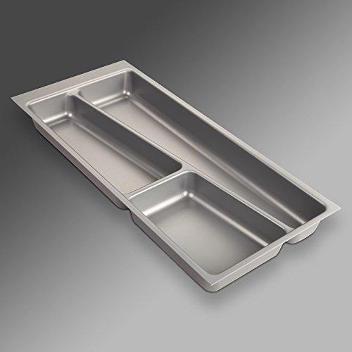 ORGA-Box® II Besteckeinsatz für Nobilia 30er Schublade (462 x 205 mm Bitte MESSEN SIE Ihr SCHUBLADENINNENMAß!) Silbergrau