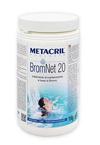 Metacril Brom Net 20 1 kg Bromo a Lento in pastiglie da 20gr.per Piscina e idromassaggio (Teuco,Jacuzzi,Dimhora,Intex,Bestway, ECC.) Spedizione IMMEDIATA