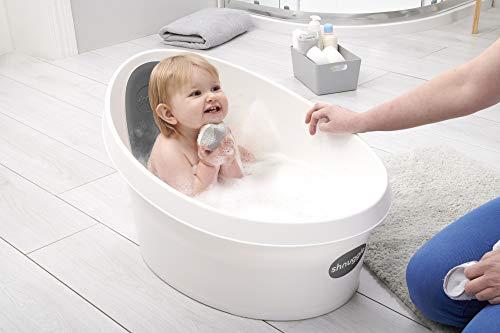 Shnuggle Bañera para niños, color blanco con respaldo gris pizarra