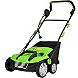Auténtico Green 15' 13Amp 2-in-1 Function Corded Electric Scarifier Lawn Dethatcher Walk-Behind Lawn Mowers Electric Weeder with 50L Collection Bag 2 Blades 4 Adjustable Position Foldable Design