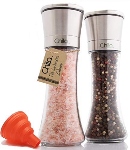 Chilo Premium Pfeffermühle und Salzmühle Edelstahl Set mit verstellbarem Keramikmahlwerk Salzstreuer Pfefferstreuer mit Silikon Trichter zum Nachfüllen