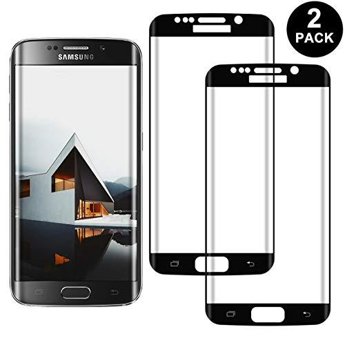 SNUNGPHIR 2 Pack Samsung Galaxy S7 Edge Screen Protector, 3D Curved Full Screen Tempered Glass, Anti-Scratch, Anti-Fingerprint, Bubble Free (Black)