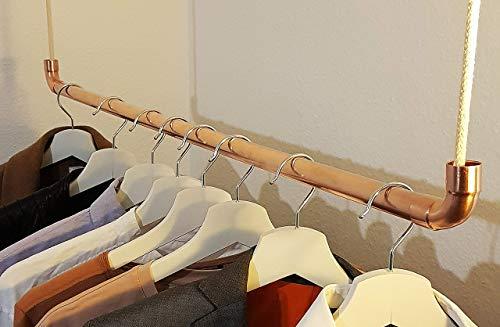 copotac Kleiderstange aus Kupfer und Baumwollseil zur Deckenmontage, 100 cm, anpassbare Höhe, Vintage- Industiral- Werkstatt- Premium- Shabby- Optik auch als Raumtrenner und Kleiderständer