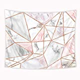 Riyidecor Pink Grey Tapestry Geometric Marble Rose Gold Stripes Unique 59Wx51H Inch Surface Blocks Cracked Pattern Lines White Natural Luxury Realistic Decoration Living Room Bedroom Fabric Polyester