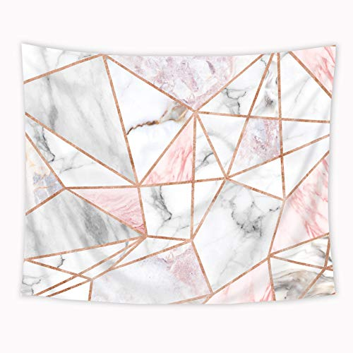 Riyidecor Geometric Pink Marble Stripes Tapestry Unique 51x59 Inch Surface Blocks Cracked Pattern Lines White Natural Luxury Realistic Art Decoration Living Room Bedroom Dorm Fabric Polyester