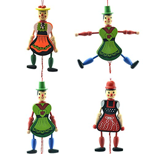 Amosfun 4pcs Funny Wooden Toy Ornament Hanging Decoration Marionette Pull String Puppet Doll