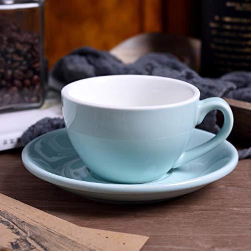 Tazas de café de cerámica de alto grado de 220 ml Juego de tazas de café Taza de estilo europeo simple Tazas de flores de capuchino Latte, azul claro